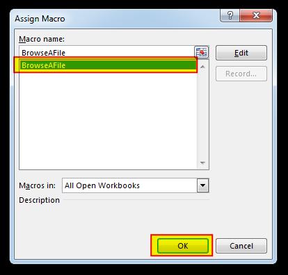 Assign Macro Dialog