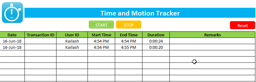 Time and Motion Study Excel Template - EXCEL VBA TRICKS