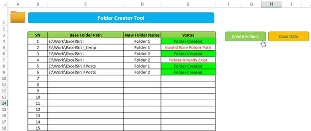 Create multiple folder automatically through Excel VBA