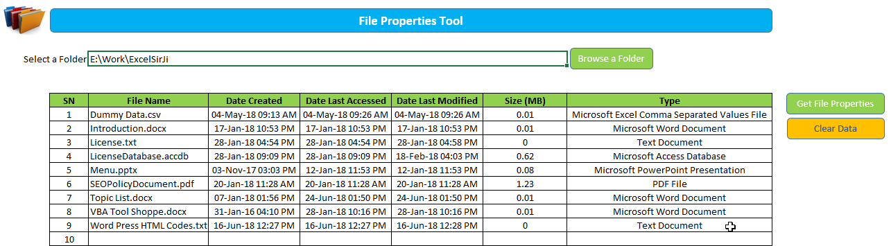 Excel VBA Tool to Get File Properties - EXCEL VBA TRICKS