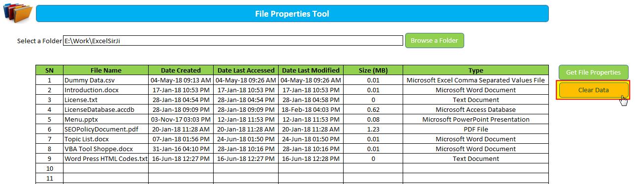 Get File Properties from a folder Excel VBA