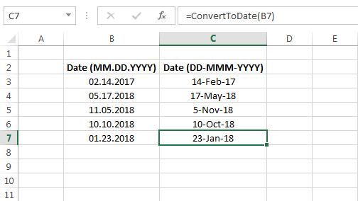 VBA Code to Convert MM DD YYYY Format to DD-MMM-YYYY