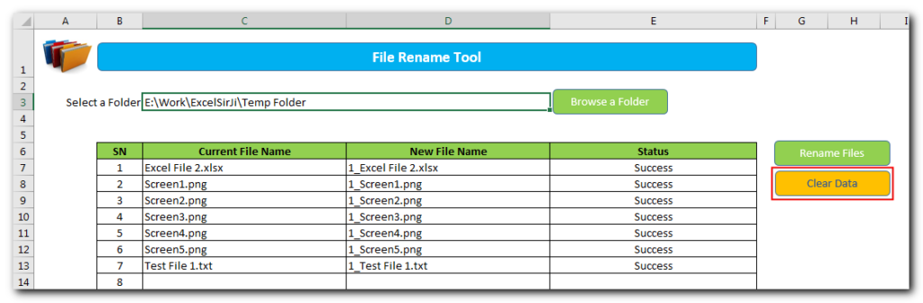 VBA Rename Excel Files