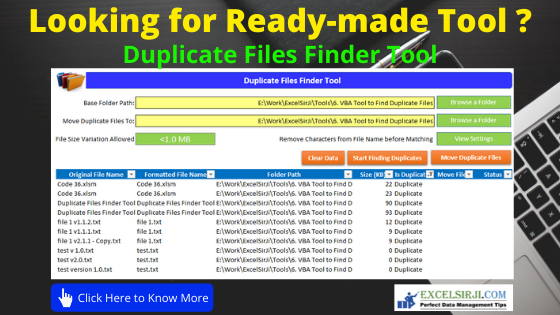 ExcelSirJi - Duplicate Files Finder Tool