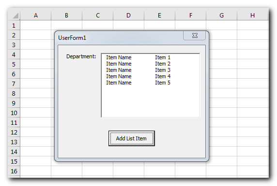VBA Code to Add Items in ListBox Control in Userform