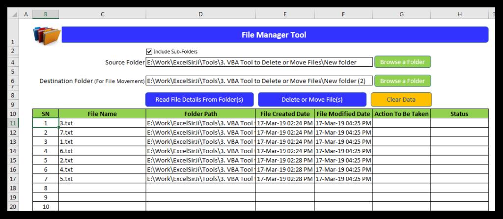 VBA Tool to Delete or Move Files