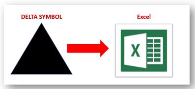 How to insert Delta symbol in Excel