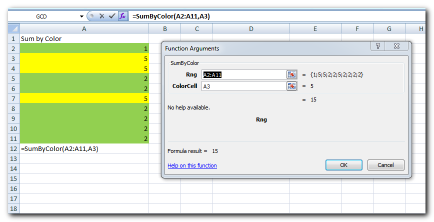 Excel Formula to Sum by Colors