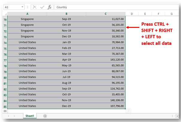Pivot Table Select Data