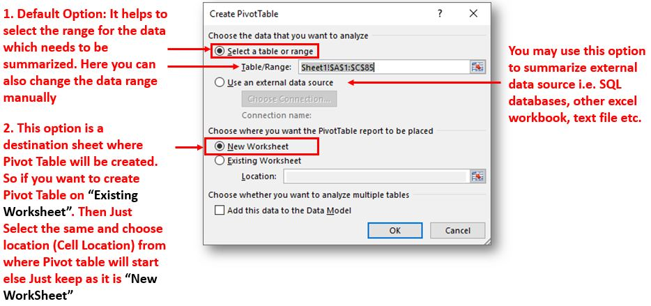 Pivot Table External Sources