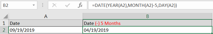 Subtracting Months from Date