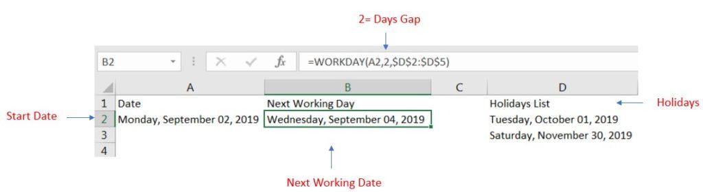 Excel Workday Formula