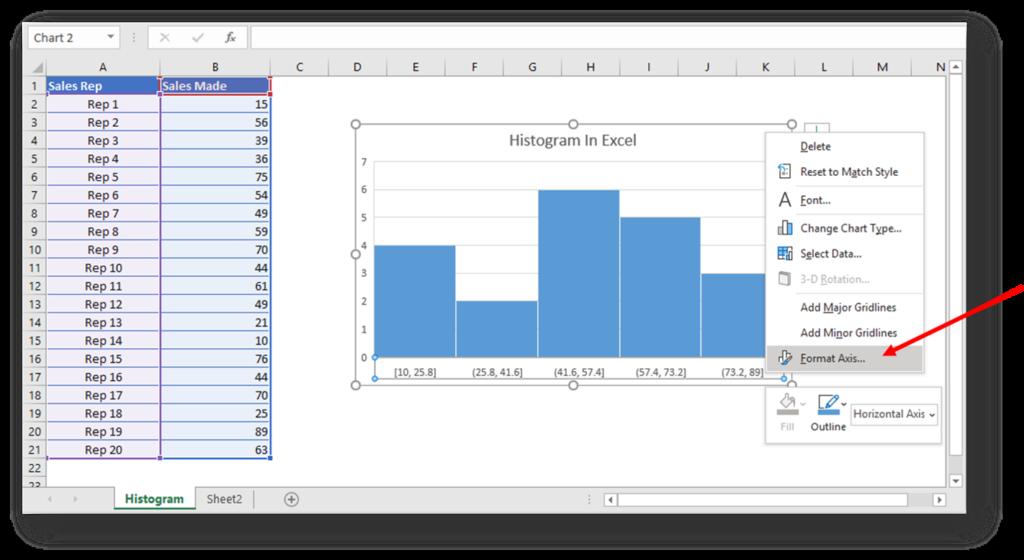 Format Axis Excel Histogram