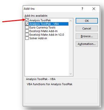 Excel Anaysis ToolPAK