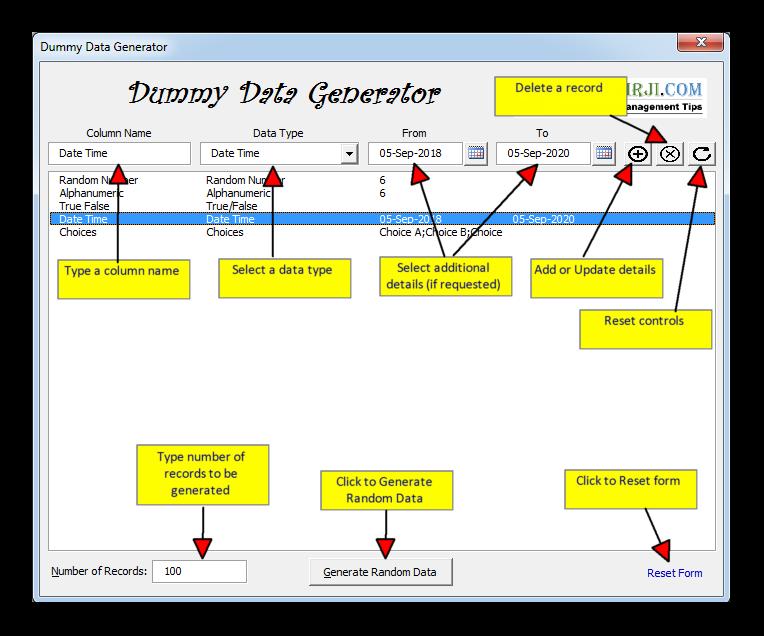 Dummy Data Generator Tool