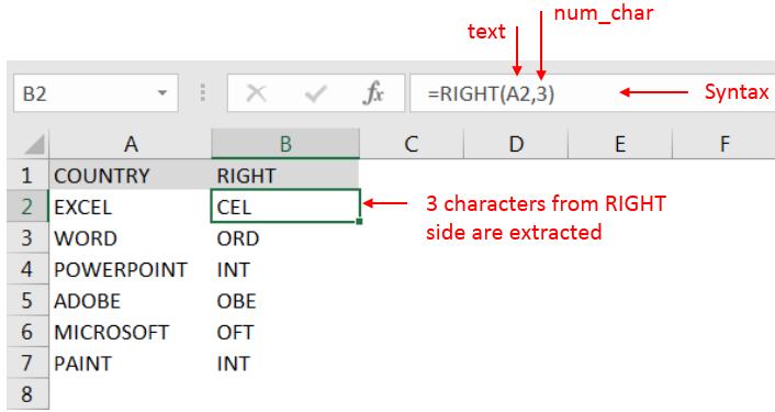 Right Function - ExcelSirJi