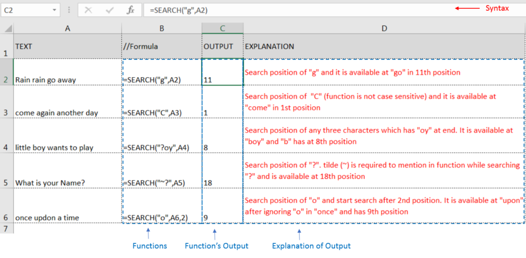 Learn MS Excel SEARCH Function