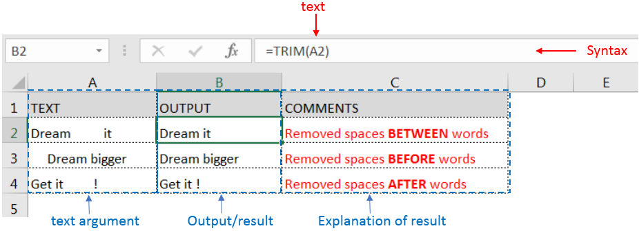 Learn MS Excel TRIM Function