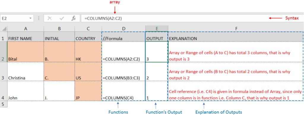 COLUMNS function Excel Videos