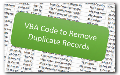 VBA Code to Remove Duplicate Records