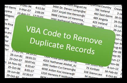 VBA Code to Remove Duplicate Records