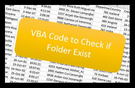 VBA Code to Check if Folder Exist