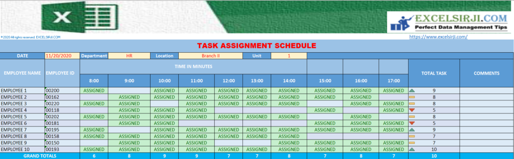 TASK ASSIGNMENT SCHEDULE