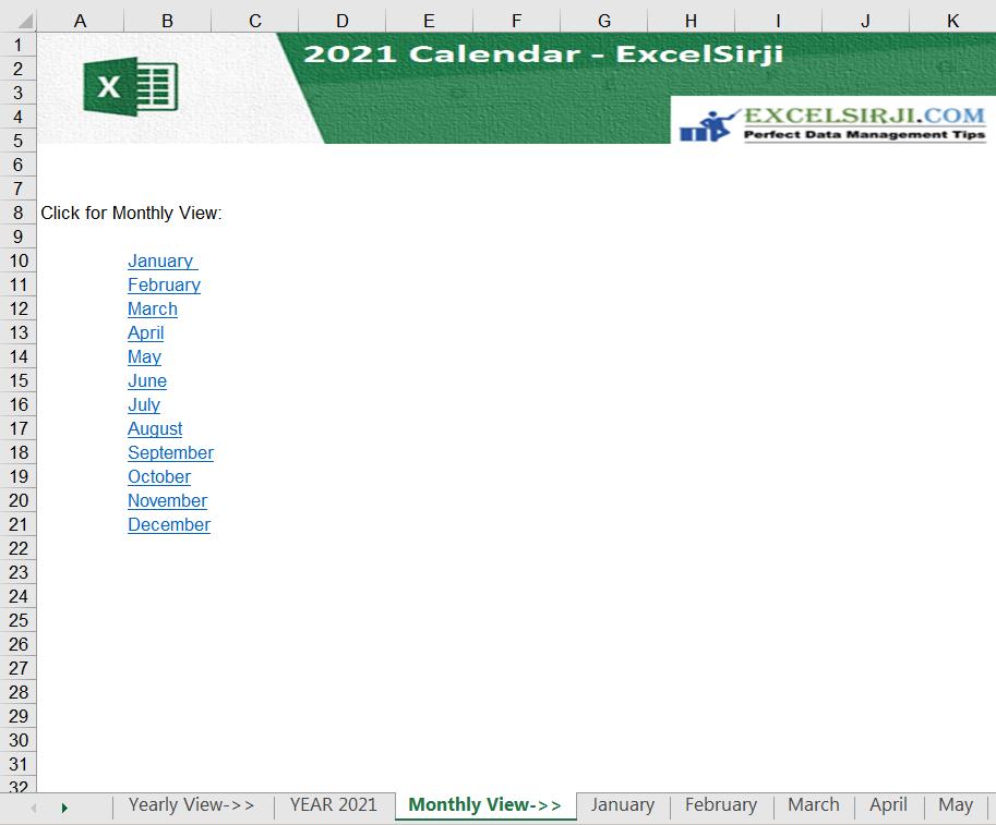 2021 Excel Calendar