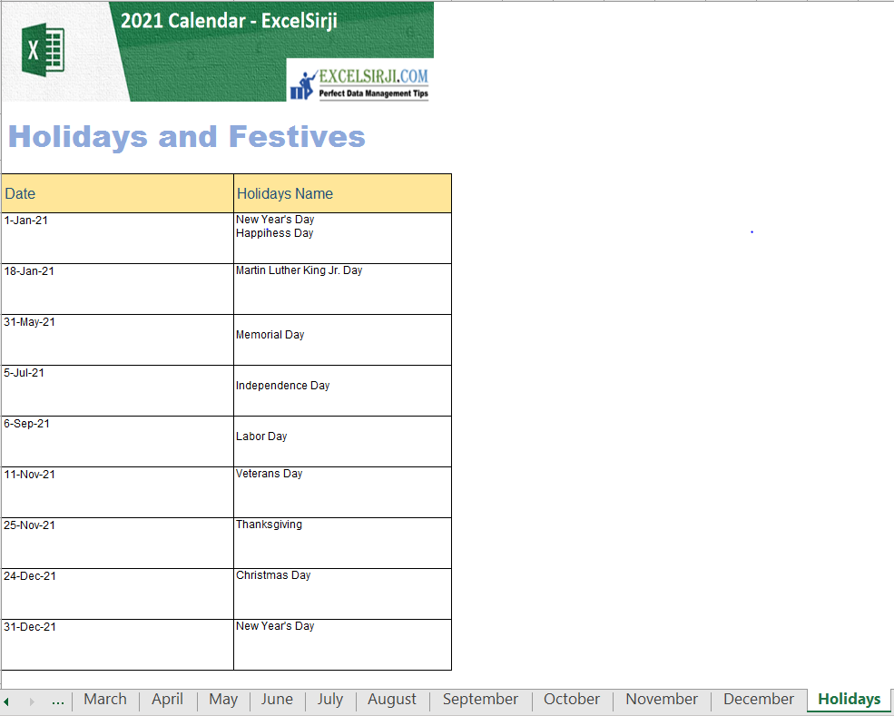 2021 Excel Calendar with Holidays