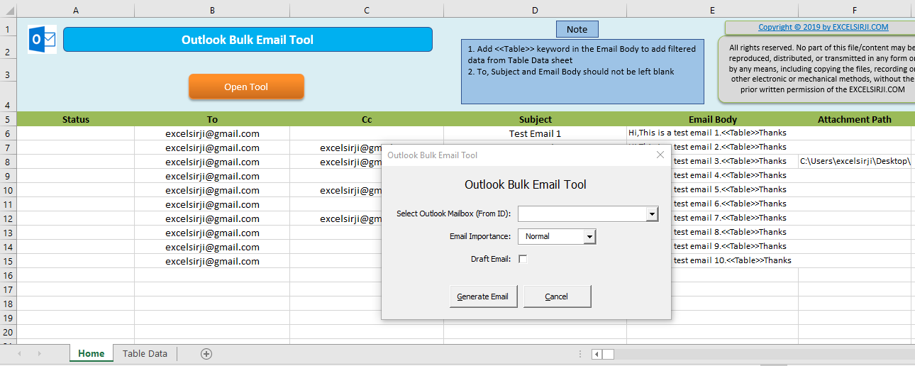 Outlook Bulk Email Excel VBA Tool • EXCELSIRJI COM